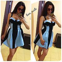 Комбинированное платье с чашками и юбкой-клеш