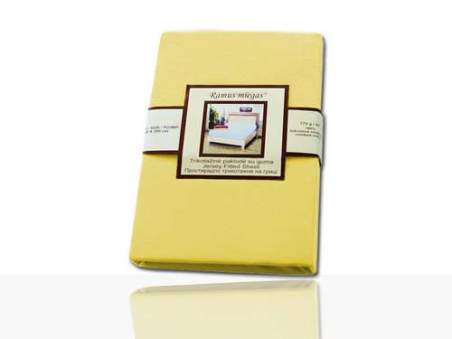 Простынь на резинке трикотажная (бледно-желтая) 180х200