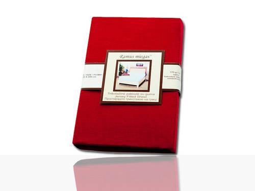 Простынь на резинке трикотажная (красная) 180х200