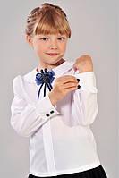 Оригинальная школьная блуза белого цвета для девочки.