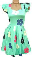 Яркое молодежное платье в цветки (в расцветках 40-46)