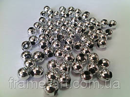Бусы гальваника 6мм серебро 6367