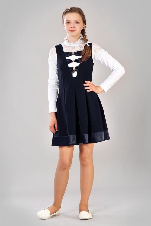 2d3bf313772 Школьный сарафан для девочки-подростка (синий)  продажа