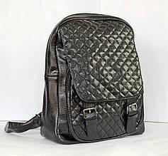 Рюкзак из стеганной искуственной кожи, черный.