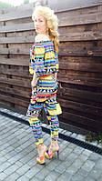 Брендовый женский комбинезон летний разноцветный  гламурный