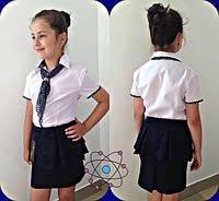 Блуза детская , ткань рубашка отделка горох штапель .галстук шифон, 2 расцветки мм №632