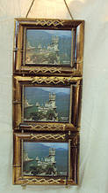 Фоторамка бамбуковая на 3 фото