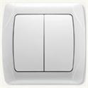 Выключатель 2х клавишный бел/крем, Viko CARMEN