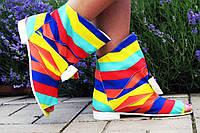 """Цветные женские стильные тканевые ботиночки """"Радуга"""" с бантиком и открытым носком. Арт-0089"""