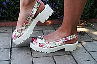 Стильные молодежные цветные тканевые босоножки на белой толстой подошве. Арт-0135