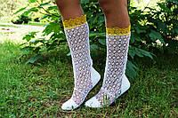 Летние кружевные белые сапожки с желтой вставкой . Арт-0003.