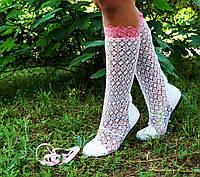 Летние кружевные белые сапожки с розовой вставкой . Арт-0003.