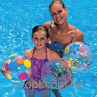 Мяч надувной разноцветный полупрозрачный (61см)