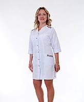 "Распродажа Медицинский халат женский 44, 56 размер ""Health Life"" х/б белый с вышивкой 2162"