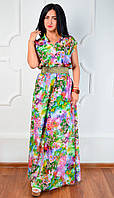 Яркое женское шифоновое длинное летнее платье