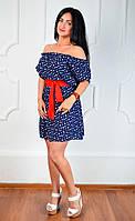 Модное коротенькое летнее женское платье под поясок