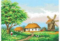 """Схема для вышивки бисером """"Сельский пейзаж"""""""