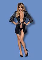Элегантный черный халатик Satinia robe Obsessive