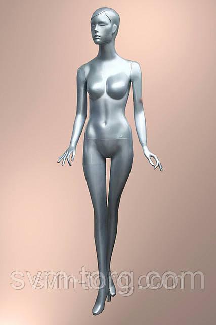 Женский манекен лакированный серебряный