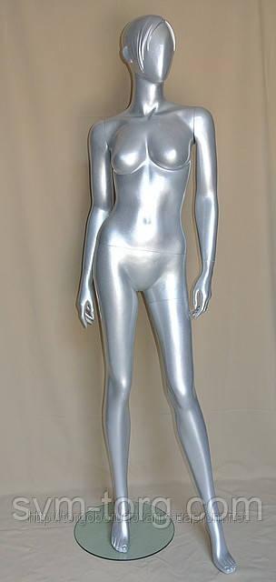 Женский манекен лакированный серебрянный