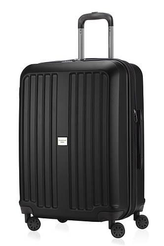 Большой черный чемодан на 4-х колесах HAUPTSTADTKOFFER xberg midi black, пластик, 90 л.