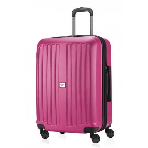 Вместительный розовый чемодан на 4-х колесах HAUPTSTADTKOFFER xberg midi magenta, пластик, 90 л.