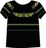828-14/10 Сорочка женская под бисер, черная, короткий рукав, размер 42