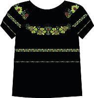 828-14/10 Сорочка женская под бисер, черная, короткий рукав, размер 52