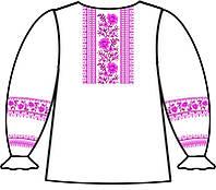 160-12-09 Сорочка для девочек под вышивку, белая, длинный рукав, размер 34