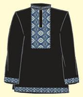 ТПК-172 21-03/08 Сорочка мужская под вышивку, черная, длинный рукав, размер 44