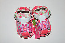 Босоножки пинетки (пищалки) на девочку 19,24 р   розовые бабочка  арт 2757.