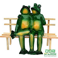 Лягушки на скамейке, садово-парковая фигура, 56см