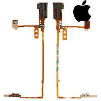Шлейф для Apple iPod Nano 5G, коннектор наушников, с компонентом, черный, оригинал