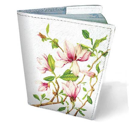 """Кожаная обложка для паспорта """"Цветы"""", фото 2"""