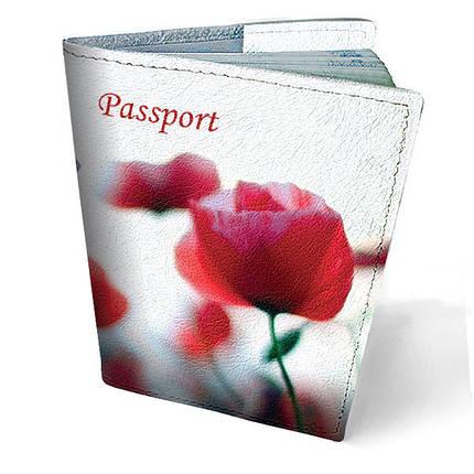 """Кожаная обложка для паспорта """"Маки"""", фото 2"""