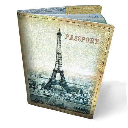 """Кожаная обложка для паспорта """"Париж"""", фото 2"""