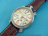 Часы GaGa 114156 женские маленькие в стразах серебристые на коричневом ремешке