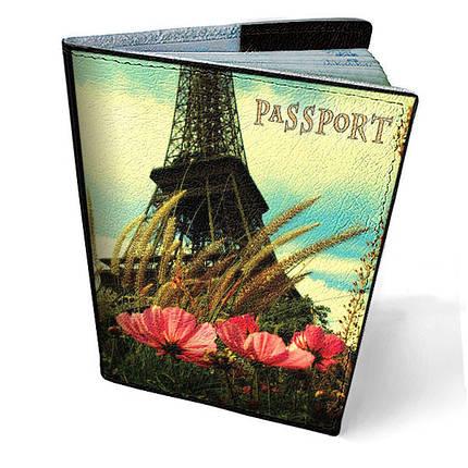 """Кожаная обложка для паспорта """"Хочу в Париж"""", фото 2"""