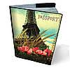 """Кожаная обложка для паспорта """"Хочу в Париж"""""""