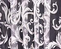 Тюль органза белая с рисунком завиток,  высота  2.8 м