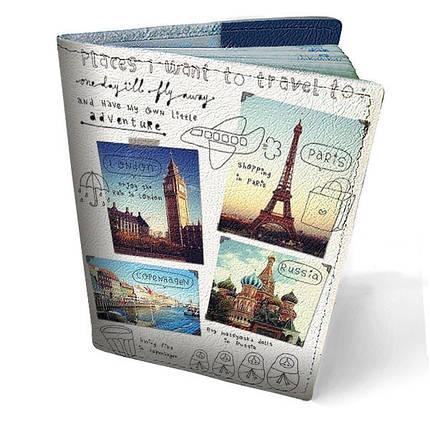 """Кожаная обложка для паспорта """"По миру"""", фото 2"""