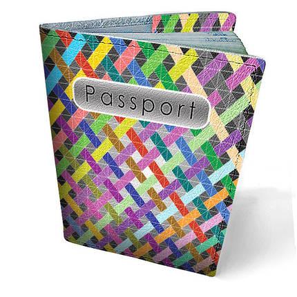 """Кожаная обложка для паспорта """"Полоски"""", фото 2"""