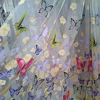Тюль органза с красивым  рисунком бабочки