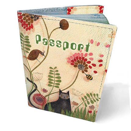 """Кожаная обложка для паспорта """"Кот в саду"""", фото 2"""