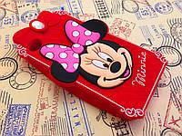 Резиновый 3D чехол для iPhone 4 / 4S Minnie красный