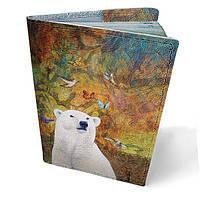 """Кожаная обложка для паспорта """"Белый мишка"""""""