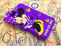 Резиновый 3D чехол для iPhone 4 / 4S Minnie фиолетовый