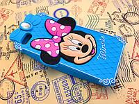 Резиновый 3D чехол для iPhone 4 / 4S Minnie голубой
