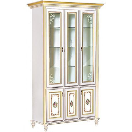 Витрина 3-х дверная Верона/Verona белый/золото (Скай ТМ)