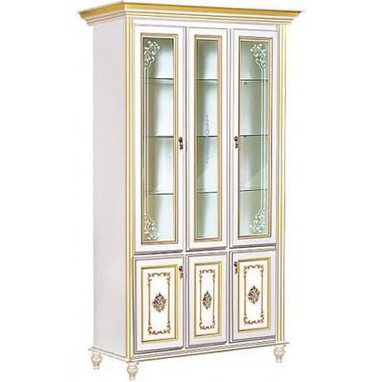 Витрина 3-х дверная Верона/Verona белый/золото (Скай ТМ), фото 2